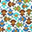 vállpántvédő - majmok - minta