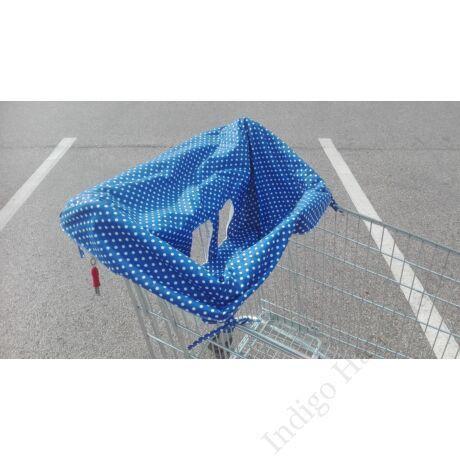 bevásárlókocsi huzat-kék pöttyös